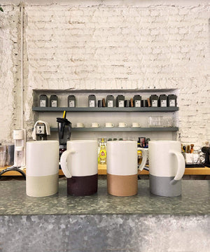 coffee cups good for a cafe, Mora Ceramics speckled mugs with colors inspired by nature minimal style