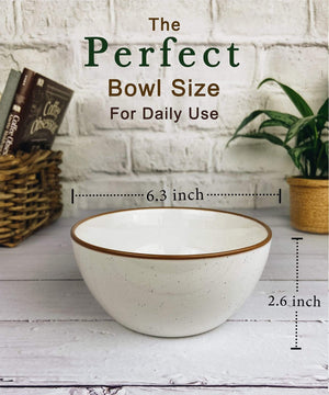 perfect bowl size for daily use, 6 inches wide in white