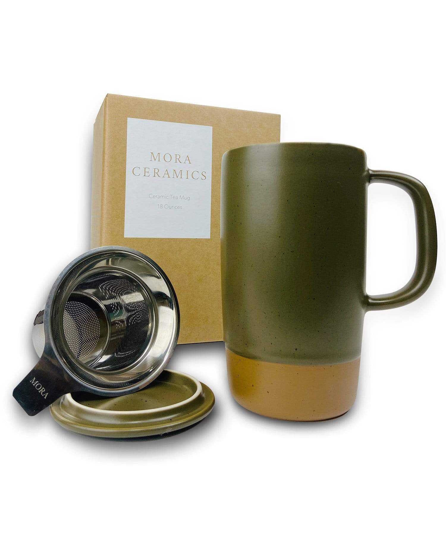 Large Tea mug with infuser and brown clay on the bottom by Mora Ceramics in olive green