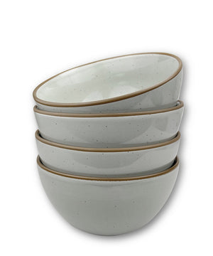4 cereal bowls in early grey with brown rims