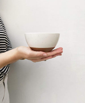 handcrafted ceramic bowl by Mora Ceramics minimal artistic style in vanilla white
