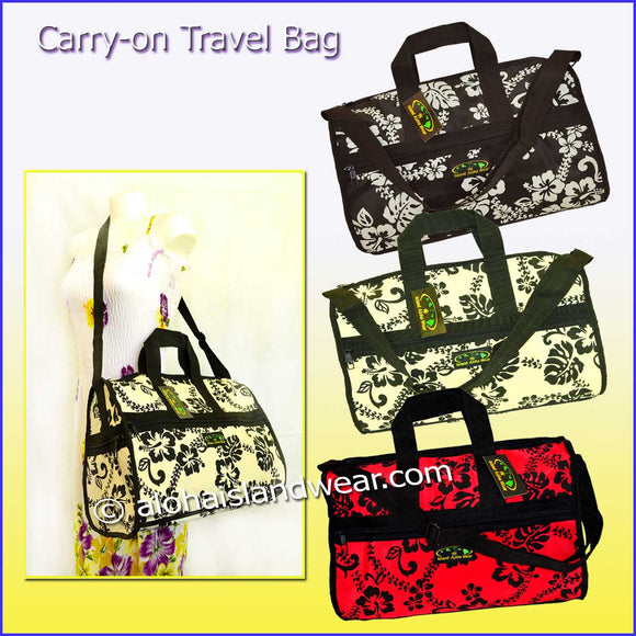 Large Hibiscus Printed Carry-on Travel Bag