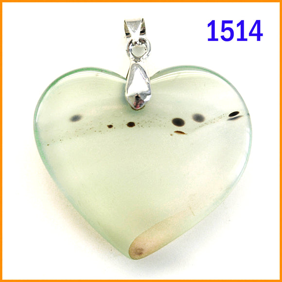 Heart shaped agate stone pendant -1514