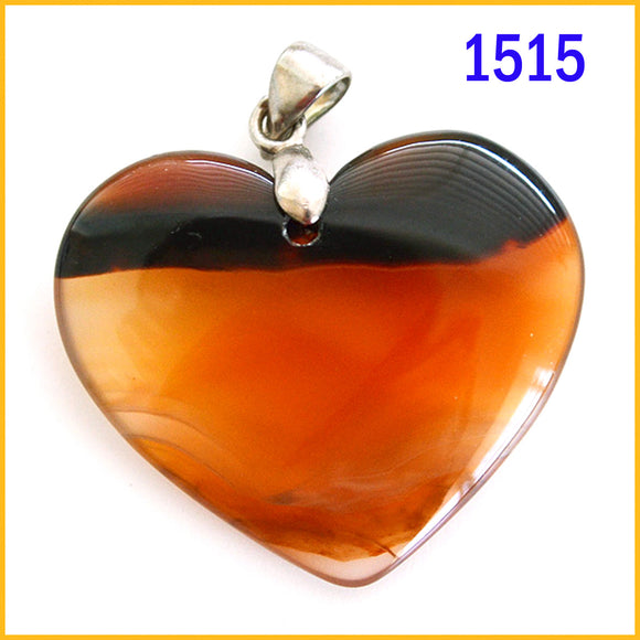 Heart shaped agate stone pendant -1515