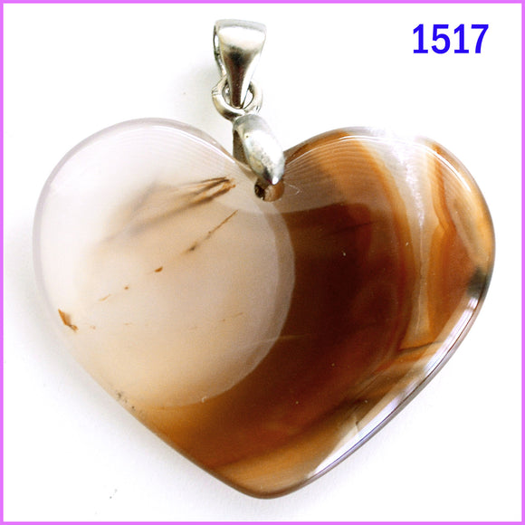 Heart shaped agate stone pendant -1517