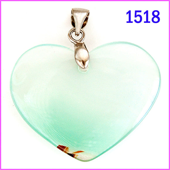 Heart shaped agate stone pendant -1518