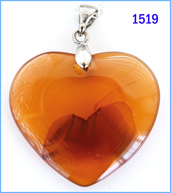 Heart shaped agate stone pendant -1519