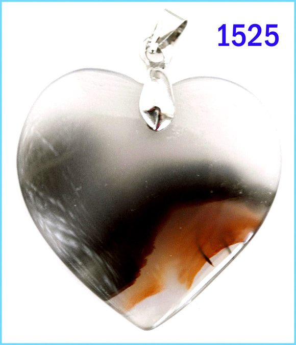 Heart shaped agate stone pendant -1525