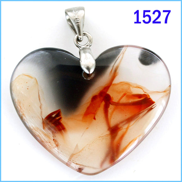 Heart shaped agate stone pendant -1527