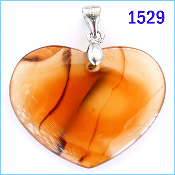 Heart shaped agate stone pendant -1529