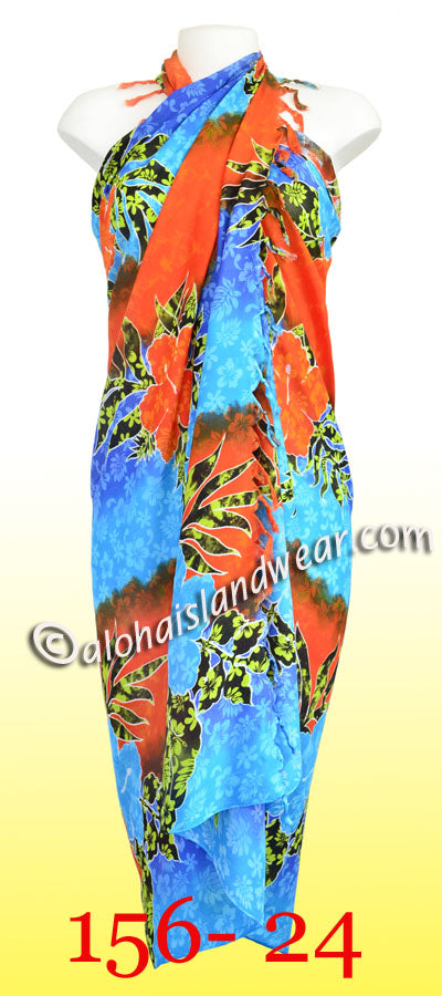 Tropical floral Hawaiian sarong - 156-24