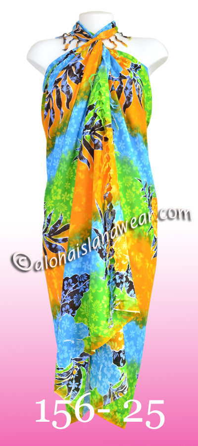 Tropical floral Hawaiian sarong - 156-25