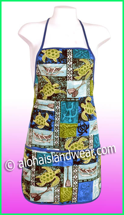 Hawaiian Print Apron - 701 Blue