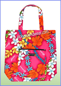 Aloha Tote Bag w/Top Zipper - 906 Pink