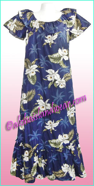 Hawaiian Muumuu Dress - 413 Navy