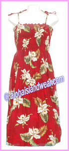 Mid Length Hawaiian Smock Dress - 413 Red