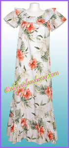 Hawaiian Muumuu Dress - 466 White