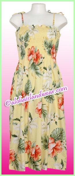 Mid Length Hawaiian Smock Dress - 466 Yellow