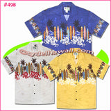 Surfboard & Hibiscus Hawaiian Shirt - 498