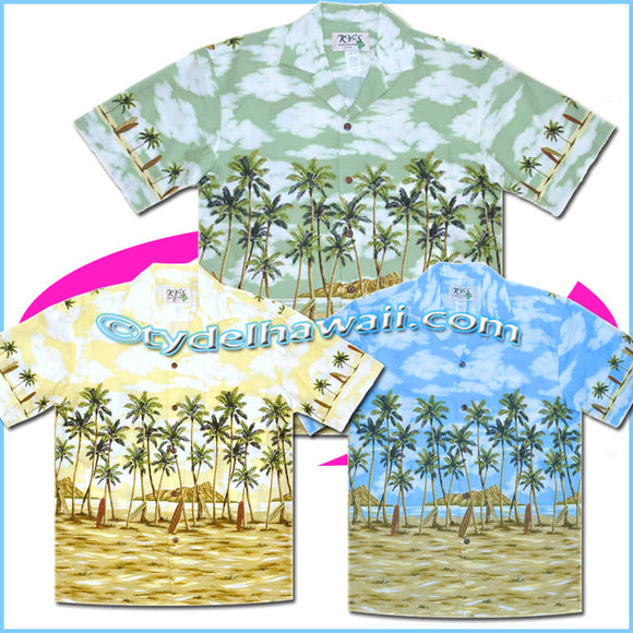 Palm Tree & Diamond Head Hawaiian Shirt - 506