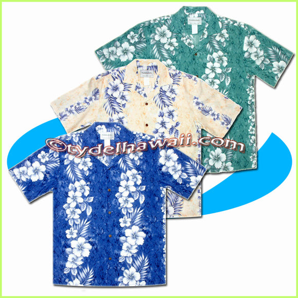 Hibiscus Panel Hawaiian Shirt - 805