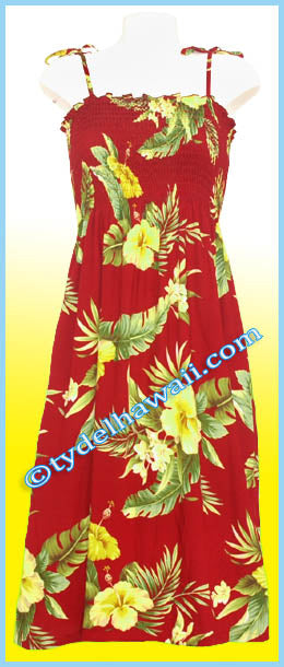 Mid Length Hawaiian Smock Dress - 820 Red