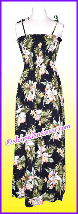 Full Length Hawaiian Smock Dress - 824 Black