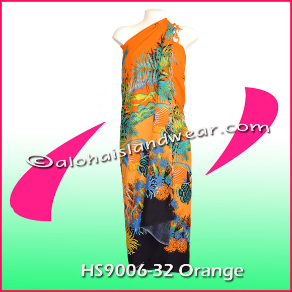 Ocean reef Hawaiian sarong - 9006-32 Orange