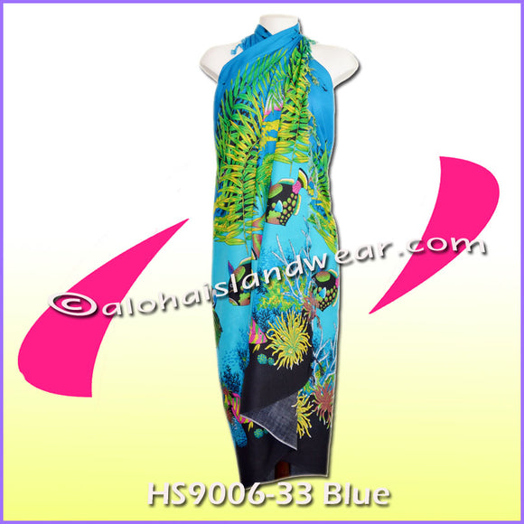 Ocean reef Hawaiian sarong - 9006-33 Blue