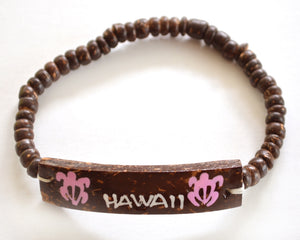 Wood beads w/coconut shell ID plate Hawaii bracelet - Pink honu