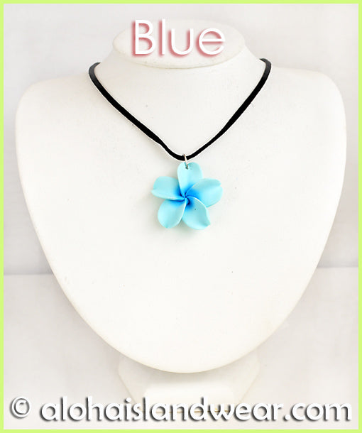 Fimo Plumeria w/Black Cotton Cord Necklace