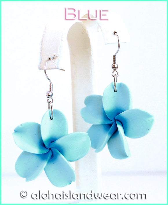 Fimo Flower Dangle Earrings - Blue