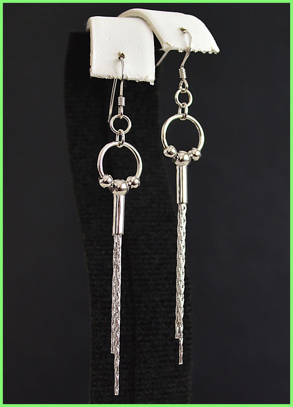 Solid .925 sterling silver dangle earrings