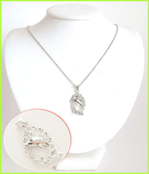 Dolphin on lei Solid Silver Necklace