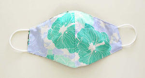 Hibiscus pattern cloth face mask