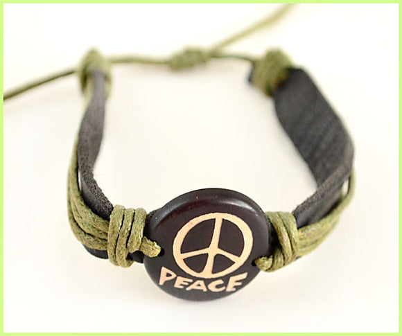Peace Genuine Leather Bracelet