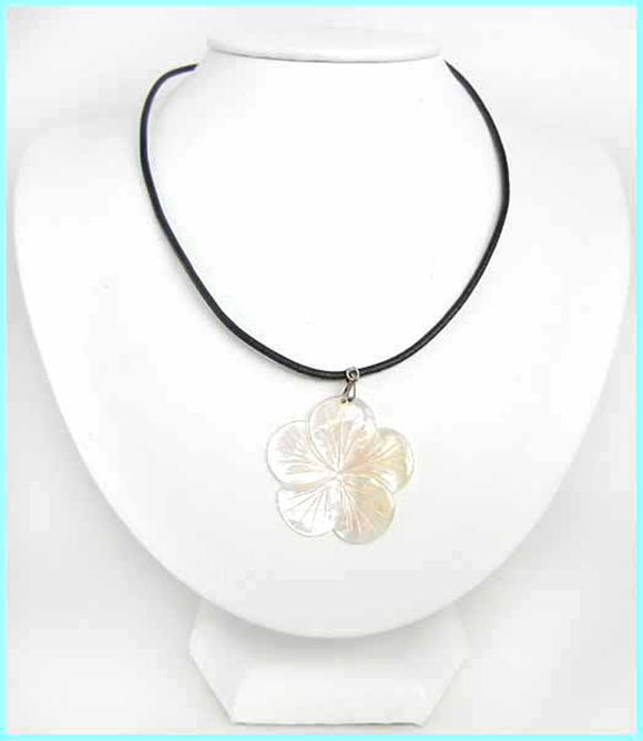 Plumeria Mother of Pearl Shell Necklace