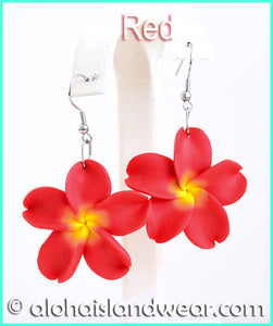 Fimo Flower Dangle Earrings - Red