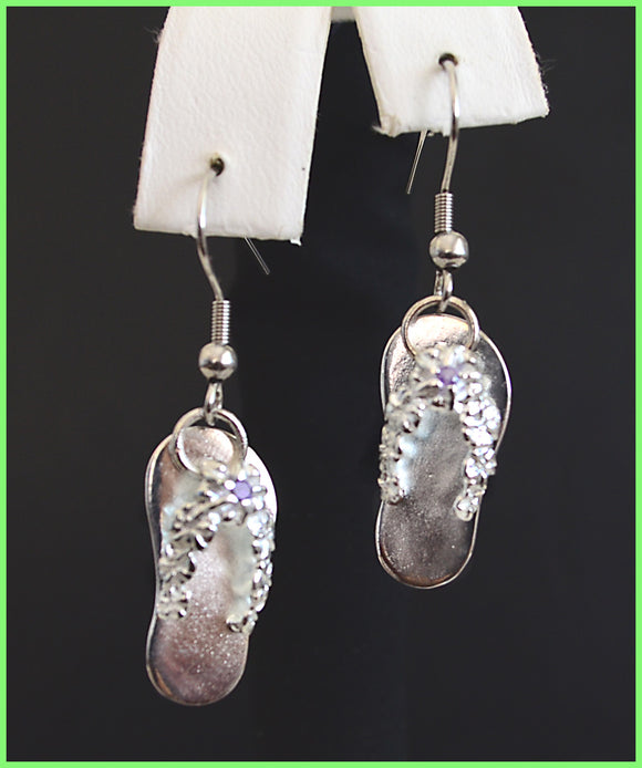 Island Solid Silver Slippers Earrings