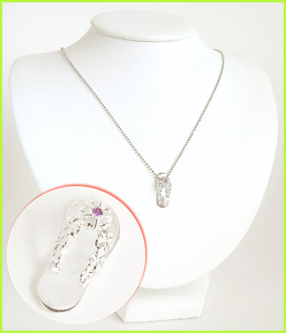 Island Slipper Solid Silver Necklace