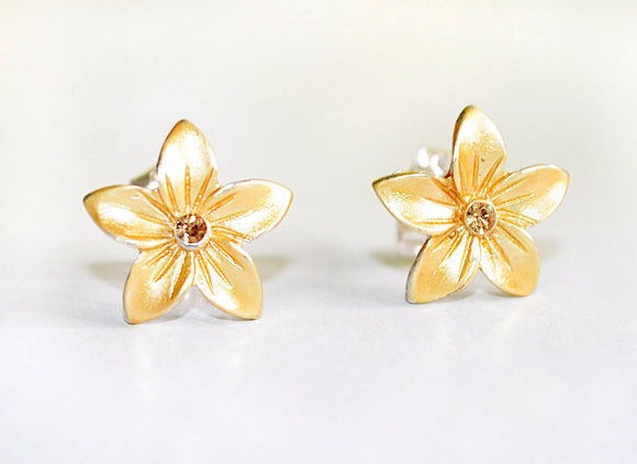 Small Enamel Plumeria Stud Earrings - Golden Yellow
