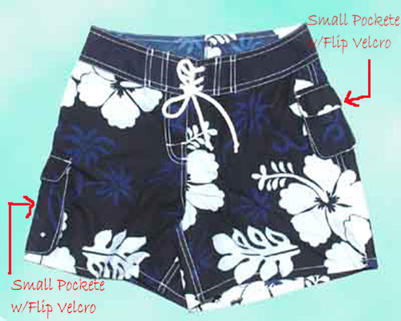Girl Board short - Navy /Hibiscus