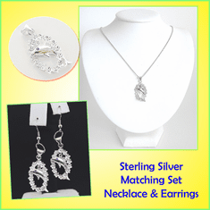 Dolphin Sterling Silver Necklace & Earrings Set