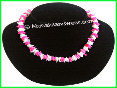 Pink & white Chips Genuine Puka Shell Necklace