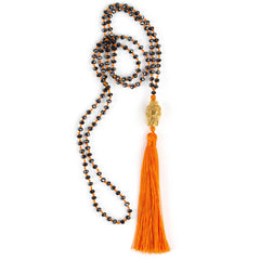 Buddha tassel halskjede - Tangerine/Blue fra Farmhousedesign.no