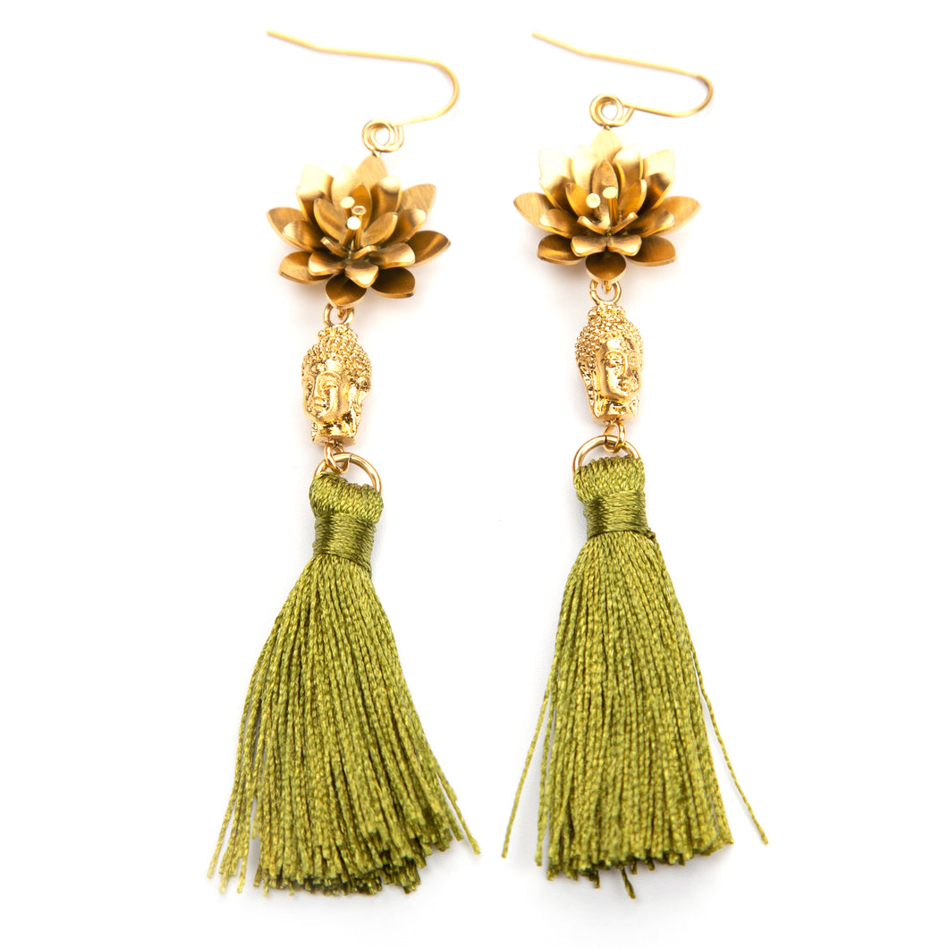 Buddha Tassel ørepynt - Green fra Farmhousedesign.no