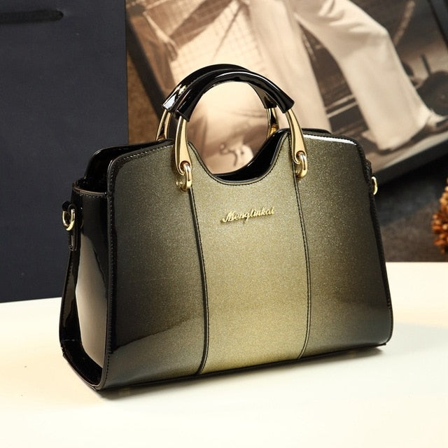 New arrival korean style simple pillow shoulder bags handbags women famous brands top handle bag patent leather messenger clutch