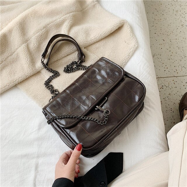 Vintage High capacity Tote bag 2020 Fashion New High quality PU Leather Women's Designer Handbag Chain Shoulder Messenger Bag