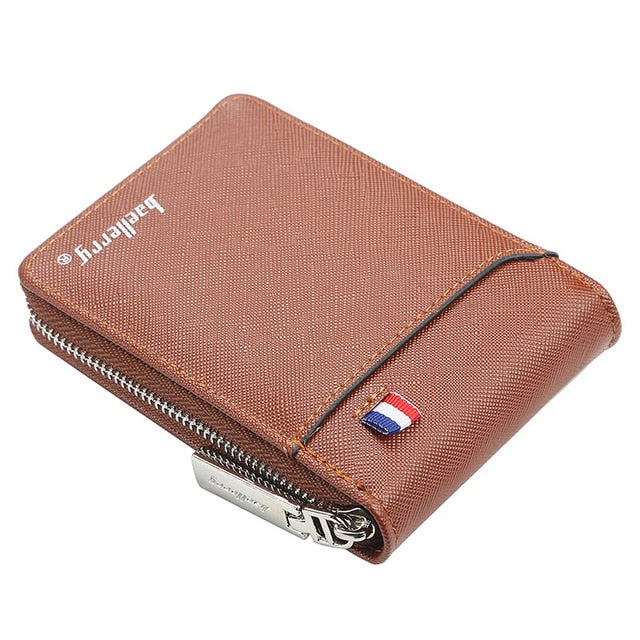 fashion zipper Men's Wallet  small short Credit Card Holder for male vintage mini man purse with coin pocket 058-K9105