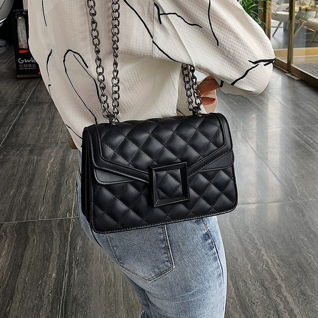 Lattice Square Crossbody Bag 2020 Fashion New High quality PU Leather Women's Designer Handbag Lock Chain Shoulder Messenger Bag